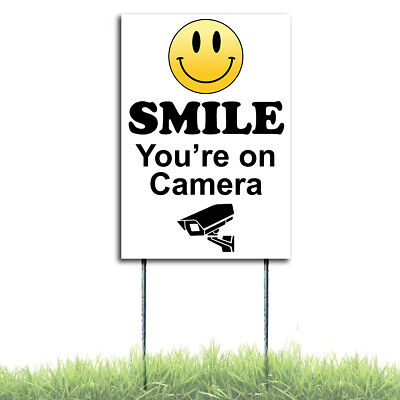Smile Youre On Camera Coroplast Sign Security Surveillance Plastic Wstakes