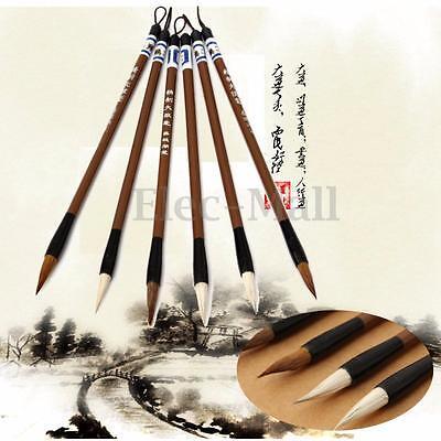 6PCs Wool Hair Chinese Traditional Calligraphy Brown White Writing Brush Pen Art
