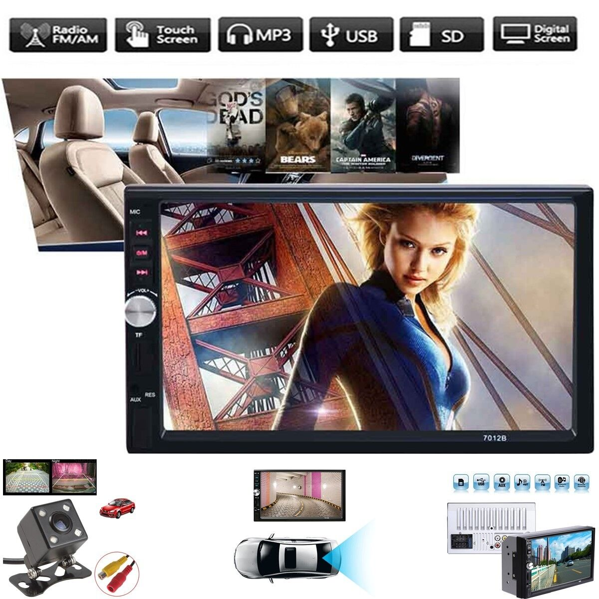 $52.99 - 7012B 2-Din 7 inch Car MP5/MP3 Player Bluetooth Stereo Radio+Rear View Camera