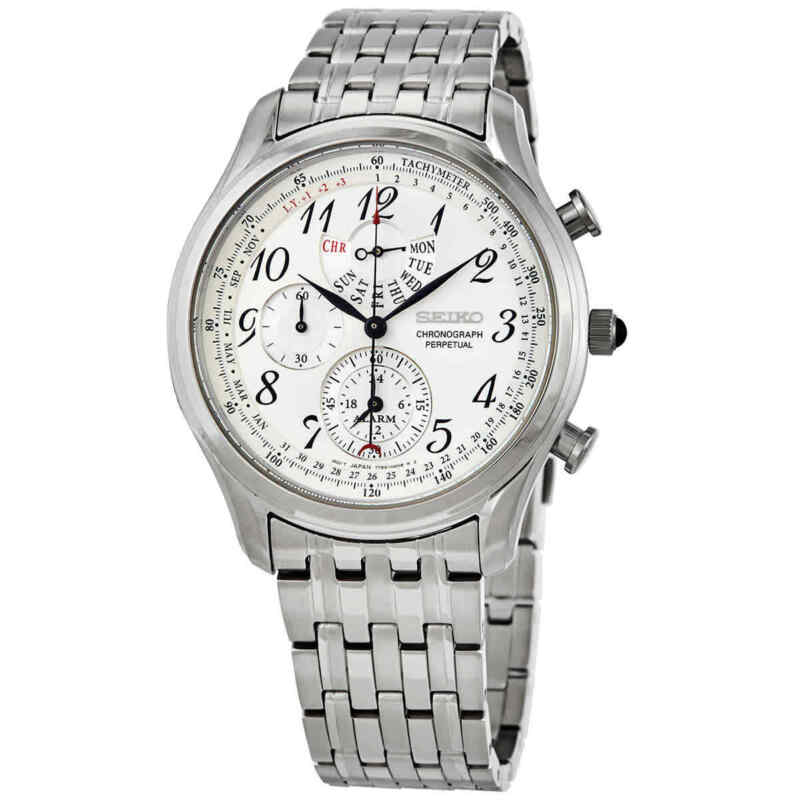 Seiko Chronograph Alarm Quartz Silver Dial Men Watch SPC251P1