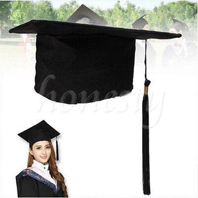 Black Mortar Board Adults Graduation Hat Cap Fancy Dress Accessory For Student - Black Graduation Cap