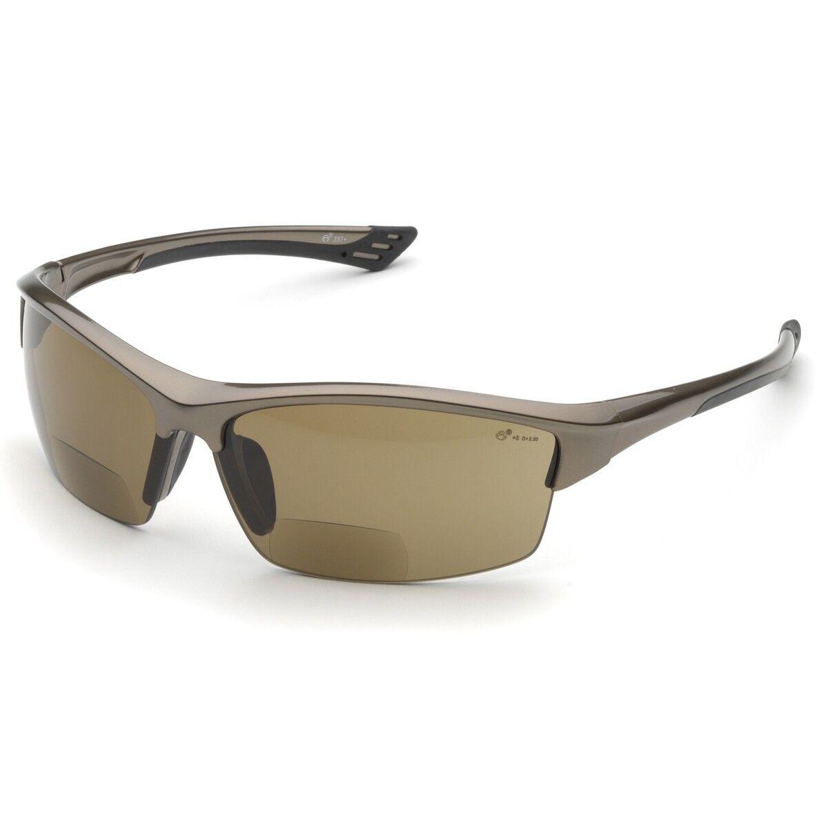Elvex Bifocal Safety Glasses with 2.0 Brown Anti-fog Lens Bronze Frame