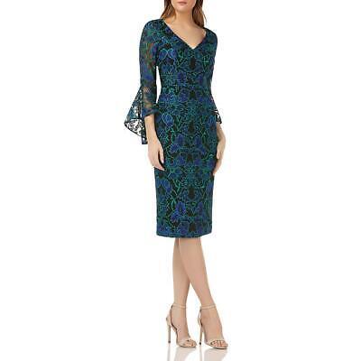 Carmen Marc Valvo Womens Floral Embroidered Midi Cocktail Dress BHFO 4374