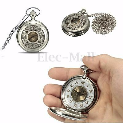 Kyпить Silver Vintage Antique Steampunk Skeleton Pocket Watch Chain Pendant Gift на еВаy.соm