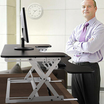 """36"""" Adjustable Height Stand Up Desk Computer Workstation Lift Rising Laptop B&W"""