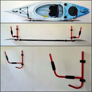 1 PAIR Kayak Steel Ladder Wall Mount Storage Rack Surfboard Canoe Folding Hanger