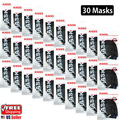 30 Pack Black Kn95 Face Mask 5-layer Protective Respirators
