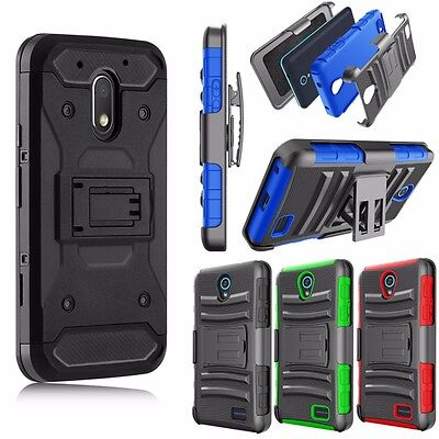Motorola Moto G4 Play Case with Belt Clip Hybrid Armor Holster Stand Phone (Best Moto G4 Cases)