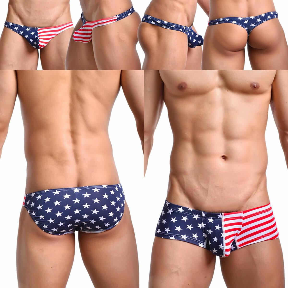 Mens Underwear Brief Thong Boxer Briefs Shorts USA Flag Cotton Bikini  Underpants   eBay