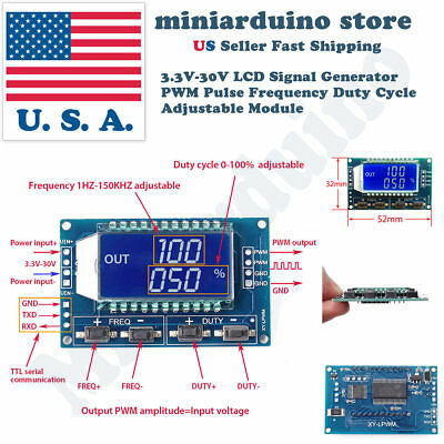 Generator Module (Signal Generator PWM Pulse Frequency Duty Cycle Adjustable Module LCD)
