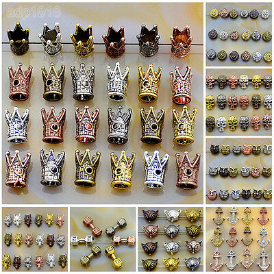 Solid Metal Dumbbell,Crown,Anchor,Fox,Owl Bracelet Connector Spacer Charm Beads - Fox Charm