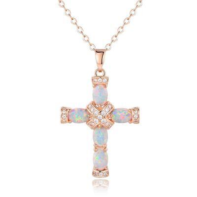 18K Rose Gold Plated Fire Opal Fancy Cross Necklace