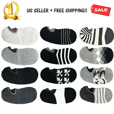 4 12 Pairs Men Loafer Boat Invisible No Show Nonslip Liner Low Cut Cotton Socks