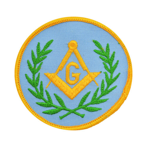 Wreathed Square & Compass Round Embroidered Masonic Patch
