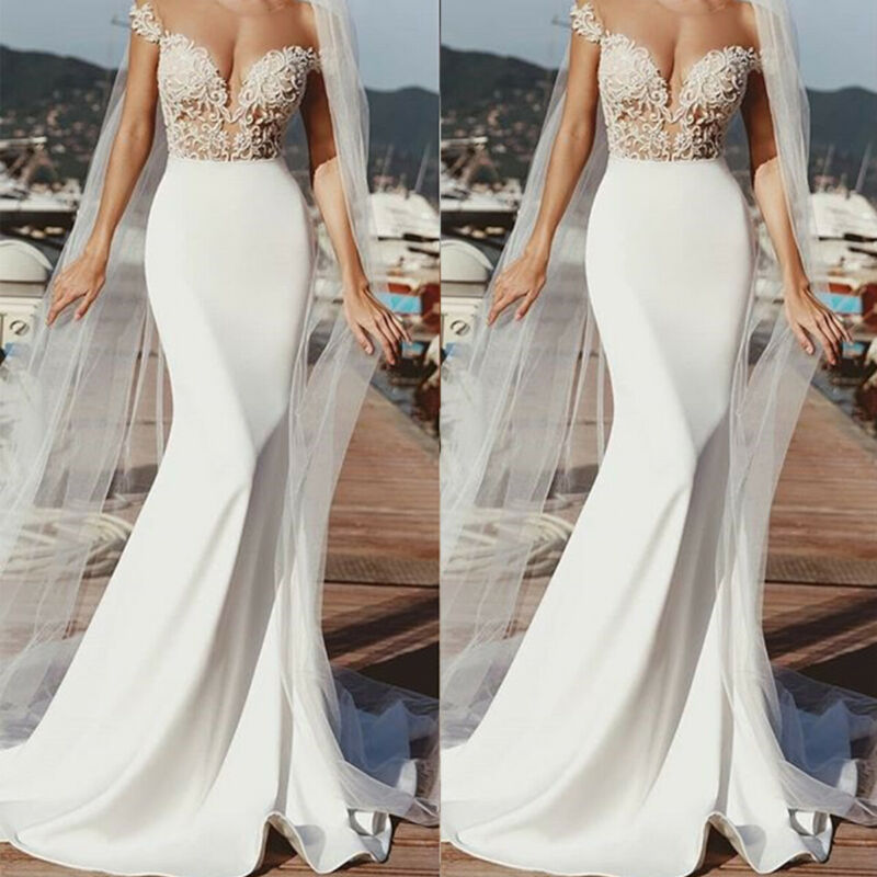 Women Lace Crochet V Neck Maxi Dress Formal Wedding High Waist Dresses Party - $17.28