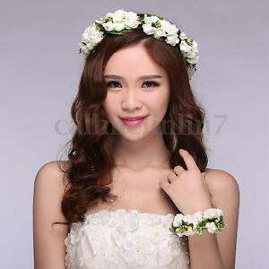 White Rose Flower Garland Hair Band Wreath Hair Headband Boho Wedding Party UK