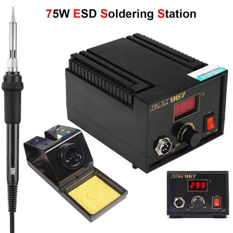 75w ESD Digital Soldering Rework Station Welding Iron Kit Desoldering Gun LCD
