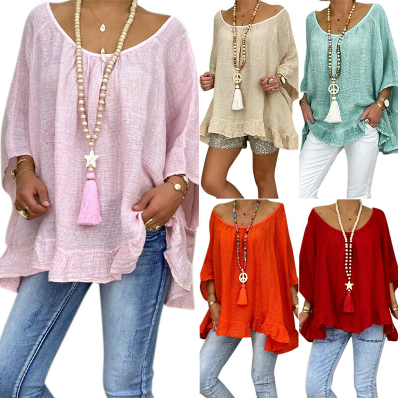 Women Summer Beach Loose Plain T Shirt Casual Baggy Tops Tunic Blouse Plus Size Clothing, Shoes & Accessories