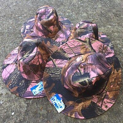 Australian Outback Hats (4 LOT Australian Outback Safari Bucket Flap Boonie Hat NEW HT-852 PINK CAMO)