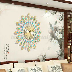 US 60*60cm Large Wall Clock Peacock Diamond Metal Watch Decor Home Living Room