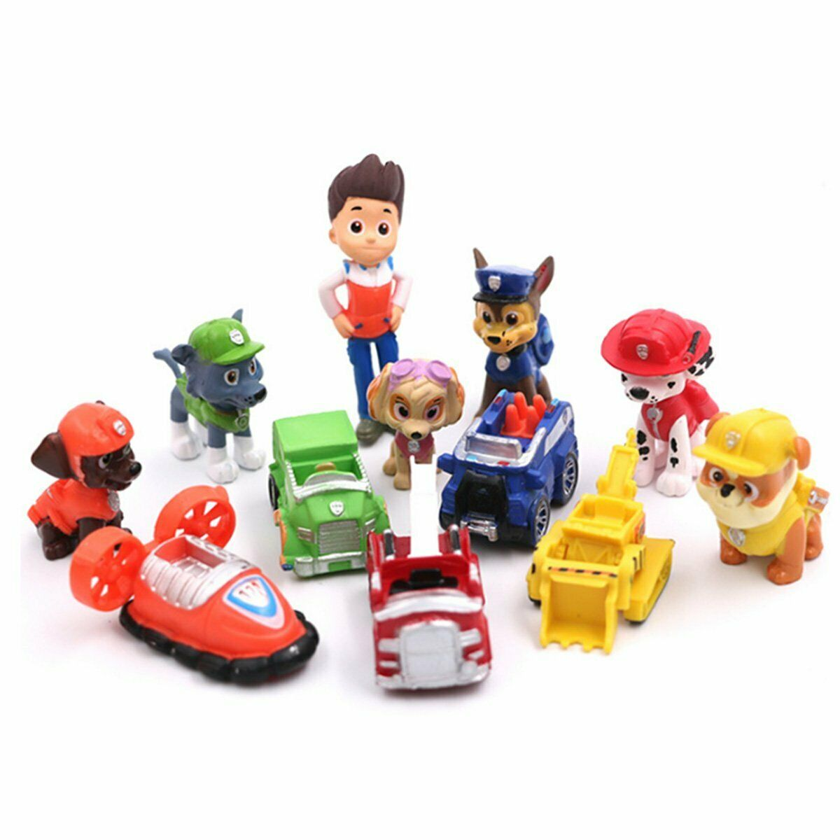 12 pcs Paw Patrol Ryder 6 Pups & 5 Vehicles Toy Figures Cake Toppers Party BULK Toys & Hobbies