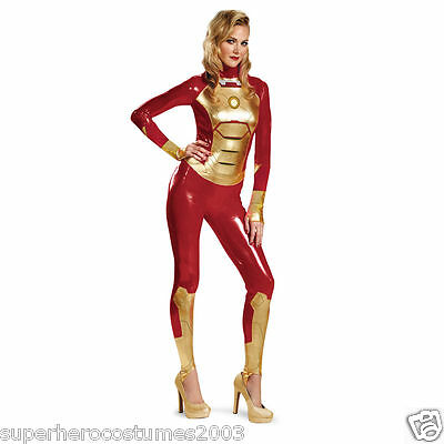 Iron Man 3 Mark 42 Adult Women Lycra Bodysuit Sassy Costume Size 4-6 New - Iron Man Costume For Women