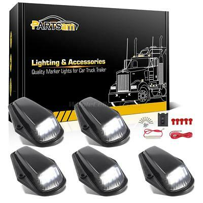 5xWhite LED Black Lens Cab Roof Top Lights+Wire for Ford F-150 F-250 F-350 80-97