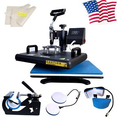 5in1 Heat Press Machine Swing Away Digital Sublimation T-shirt Mug Plate Cup Mat