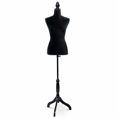 Black Female Mannequin Torso Dress Form Display W Black Tripod Stand New