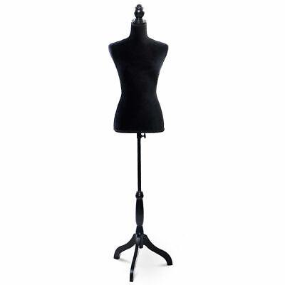 Black Female Mannequin Torso Dress Form Display W Black Tripod Stand New
