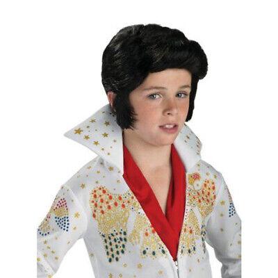 Elvis Presley Child Wig Kids Boys 50s 60s 70s Pompadour Sideburns Grease Rock (Kids Elvis Wig)