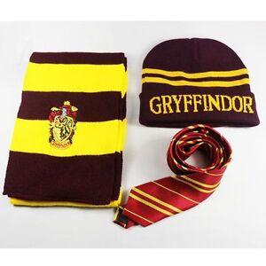Harry Potter HOGWARTS HOUSE Gryffindor Scarf Schal Tücher + Krawatte + Hat/Kappe