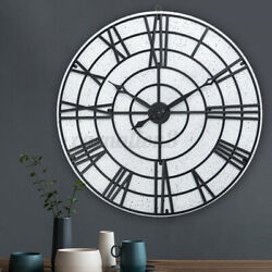 32inch Large Rustic Wooden Wall Clock Home Decor Display Roman Number Ar v