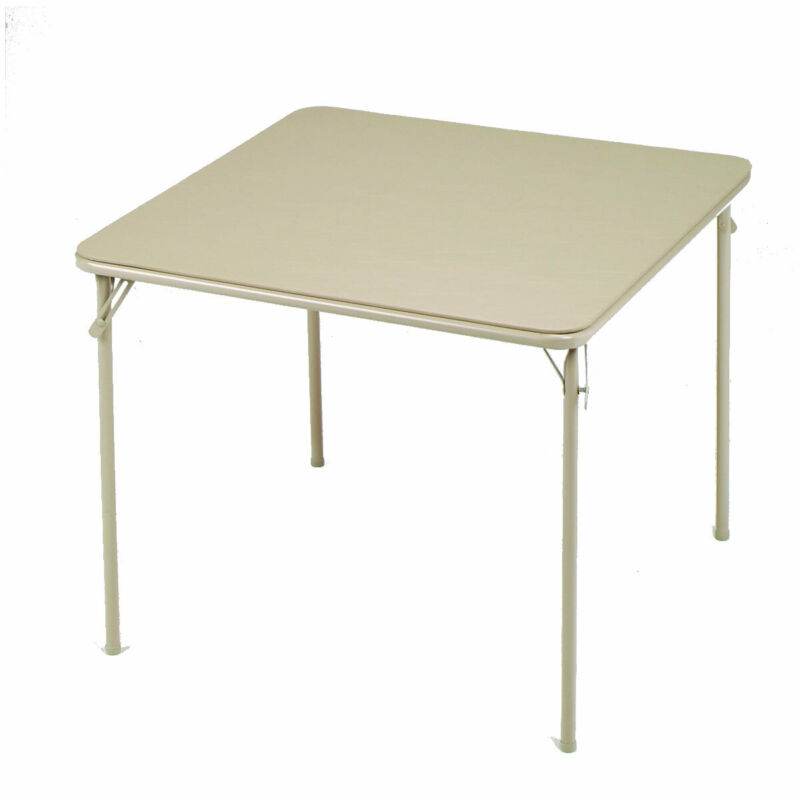 MECO Sudden Comfort 34 x 34 Inch Square Metal Dining Card Table, Buff (Open Box)