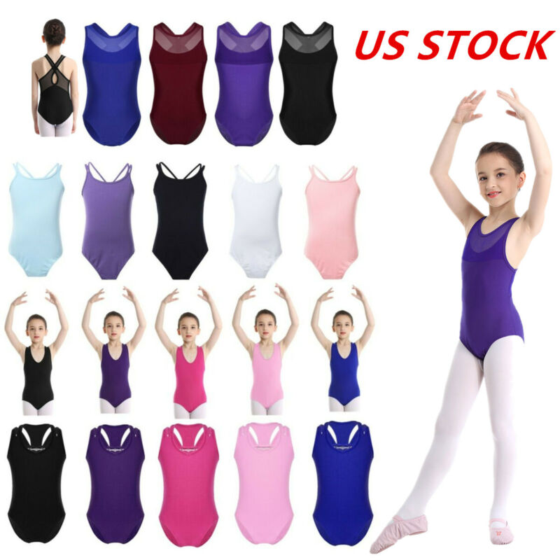 Girls Basic Gymnastic Leotard Ballet Dance Bodysuit Sportswear Dancewear Costume