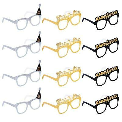 New Years Parties (12PCS 2020 Glitter Card Glasses Happy New Year's Eve Glasses Party Photo Prop)