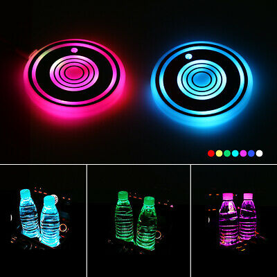 2Pcs USB Changing Car LED Cup Holder Pad Coaster Light 7 Colors Decor Lights