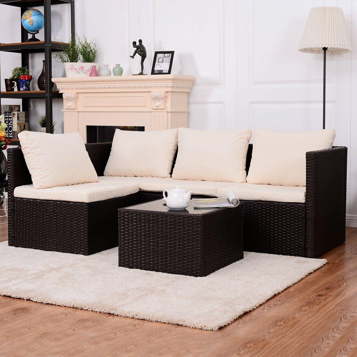 Conjunto de Muebles de Ratán Set de Muebles para Exterior Jardín Terreza Patio