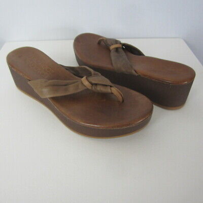 New Miz Mooz Womens 6 Burma Inuovo Brown Leather Platform Wedge Thong Sandals 36