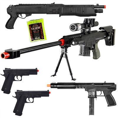 NEW Lot of 5 Airsoft Guns Sniper Rifle Shotgun Spring Pistols & 1,000 6mm BBs ()