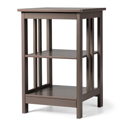 3-tier Side Table Nightstand  Sofa End Table W/ Baffles and Round Corners Brown (Brown Round End Table)