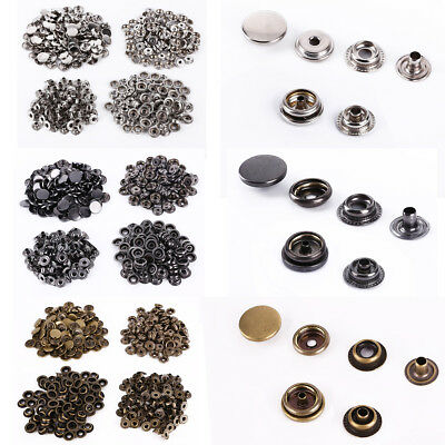 Leather Craft 100 Set Colored Press Studs Buttons Snap Fastener Diameter -