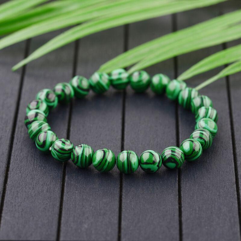 10mm Green Malachite Round Beaded Bracelet Wristband Gift Unisex