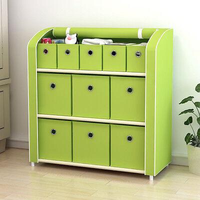 11 Drawers Storage Shelf  Storage Chest Closet Cabinet with Foldable Fabric Bins](Green Storage Bins)