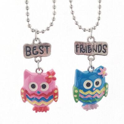2 Halskette Eule Doppel Kette Anhänger Farben Pink Blau Freundschaft