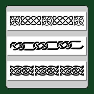 Lot/Set 3 Celtic Knot Border  STENCILS 3 X 12 each Wiccan/Medieval/Irish/Decor