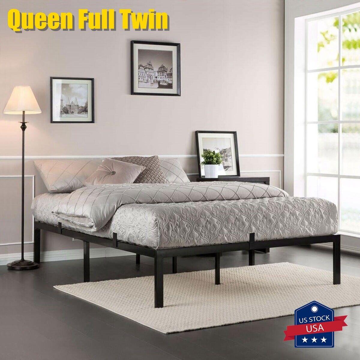 Queen Full Twin Size Metal Platform Bed Frame Heavy Duty Mat