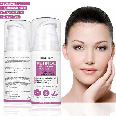 Retinol 2.5% Face Cream Anti Ageing Wrinkles with Hyaluronic Acid Vitamin E & B