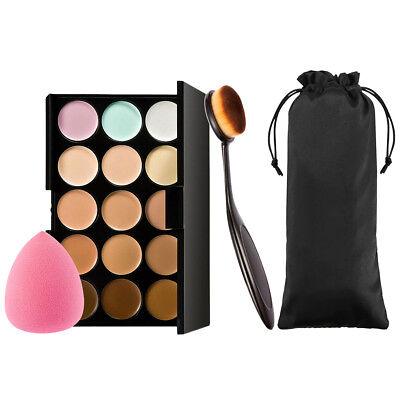 Contour Kit Highlighting Cream Palette 15 Colors w Sponge Puff Oval Makeup Brush segunda mano  Embacar hacia Mexico