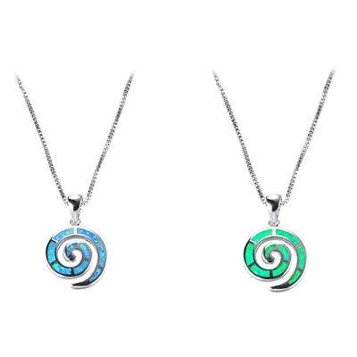 1X Exquisite Schnecke Spirale künstlichen Opal Anhänger Halskette Frauen Schmuck Opale Spiral